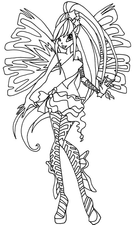 the gallery for gt winx club stella sirenix coloring pages