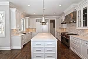 Kitchen Countertops Backsplash by Grey And White Marble Arabesque Tile Kitchen Backsplash