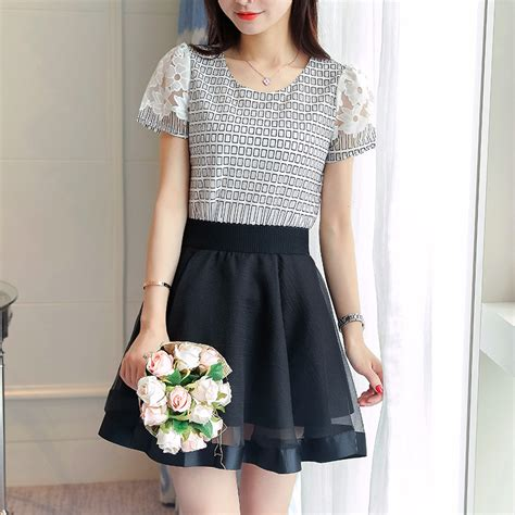 top and skirt set summer set o neck sleeve print two set 2016 in