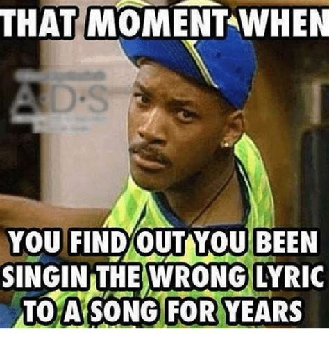 Meme Song Lyrics - that moment when you find out you been singin the wrong