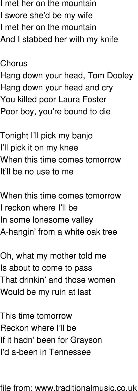 song in time song lyrics tom dooley