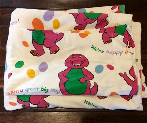 barney bed set 1992 barney flat sheet and pillow barney the