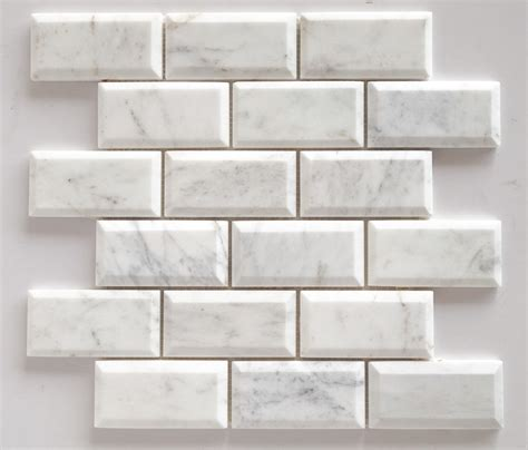 2x4 Beveled Subway Tile Backsplash by Bianco Venatino Marble 2x4 Beveled Polished Subway