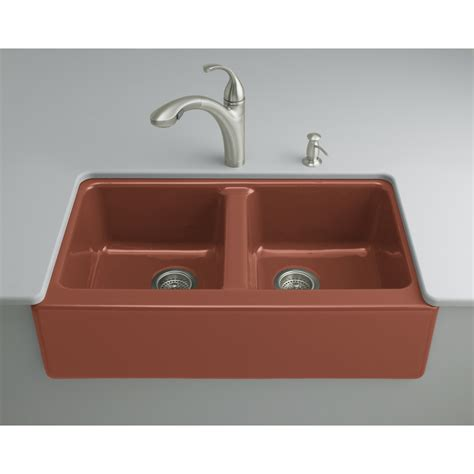 red kitchen sink shop kohler rousillon red double basin cast iron
