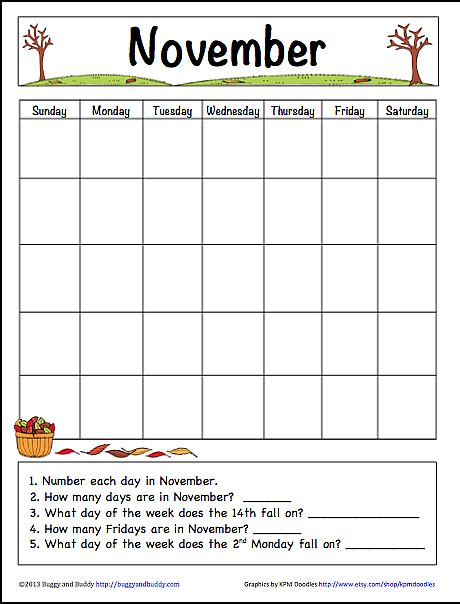 printable calendar activities november learning calendar template for kids free