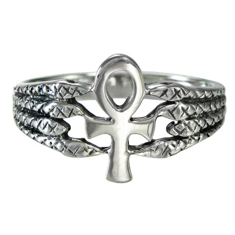 ankh protective serpent ring ss sterling silver