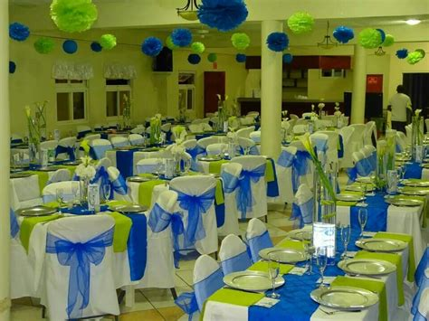 royal blue and lime green wedding reception decor - Blue And Green Decor