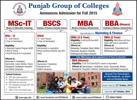 Mba In Lahore College by Msc It Bs Computer Science Mba Bba Admission In Punjab
