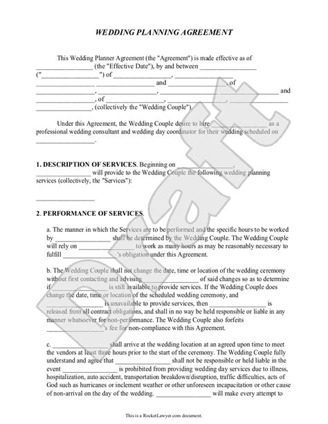 Wedding Planner Contract by Sle Contracts For Event Planners Search