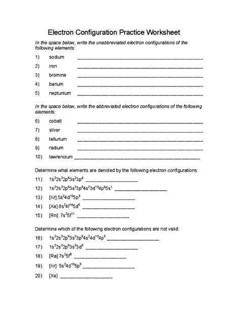 Electron Configuration Practice Worksheet Answers by Electron Configuration Practice Worksheet Free