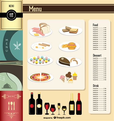 free menu design templates restaurant menu template vector free