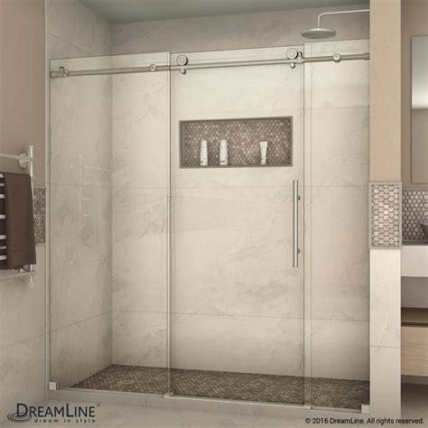 Frameless Shower Door Sliding Dreamline Enigma X 68 In To 72 In X 76 In Frameless Sliding Shower Door In Brushed Stainless