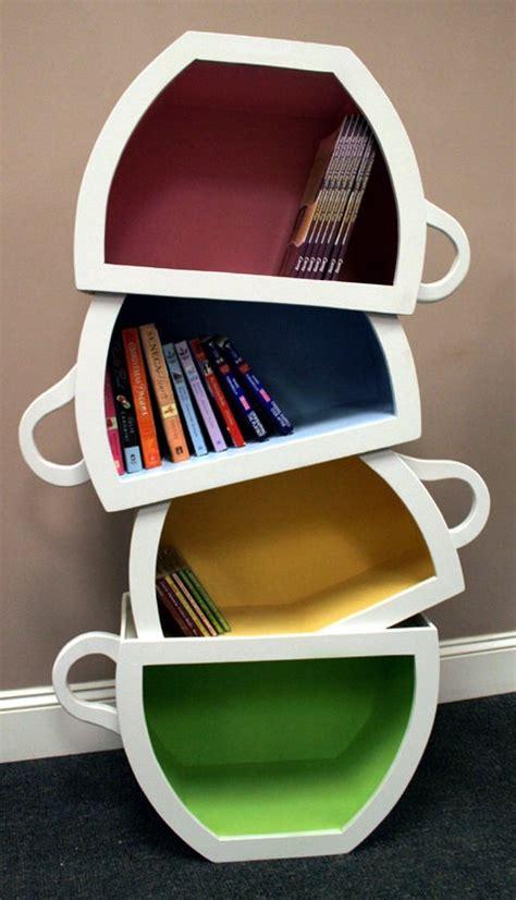 Book Shelf Cafe by Stacked Teacup Bookshelf Designtoptrends