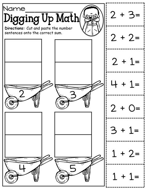 kindergarten activities cut and paste cut and paste addition up to 5 math activities for