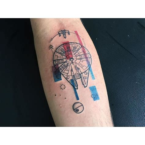 millenium tattoo millenium falcon watercolor watercolortattoo