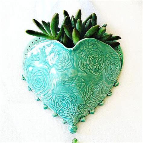 hanging planter ceramic wall pocket heart planter