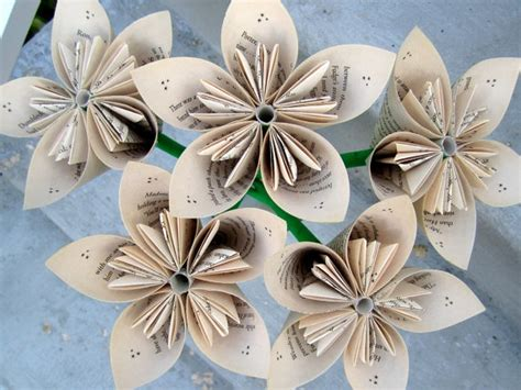 Paper Flower Books - harry potter recycled book paper flowers 5 medium size