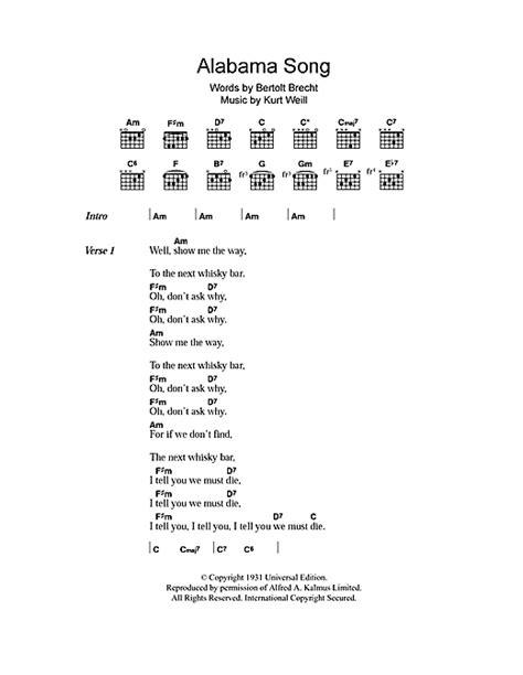 Alabama Song The Doors by Alabama Song Sheet By The Doors Lyrics Chords