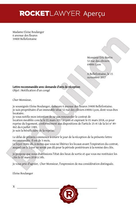 Lettre De R Siliation D Un Contrat r 233 siliation bail meubl 233 par le propri 233 taire mod le de