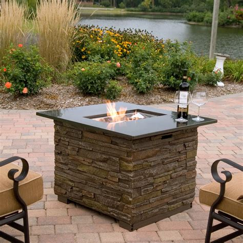 Florence Gas Fire Pit Table With Cover At Hayneedle Gas Firepit Tables