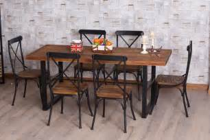 L And Table Combination American Retro Dinette Combination Of Wood Wrought Iron