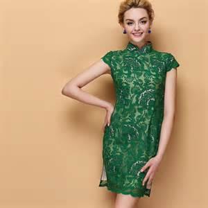 Shape pattern lace short chinese cheongsam summer dress modern qipao