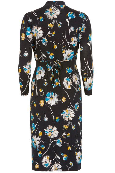 3 4 Sleeve Floral Print Dress floral print 3 4 sleeve tea dress