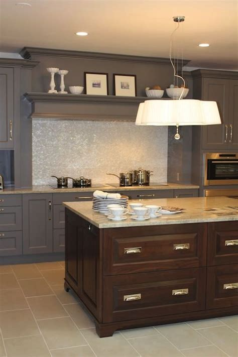 chocolate brown kitchen cabinets source aidan design two tone kitchen design with gray