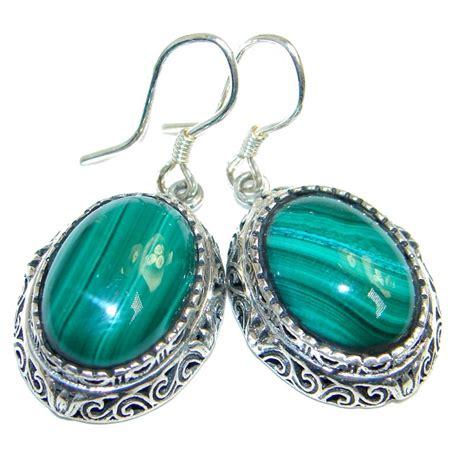 Silver Handmade Jewelry Set Malachite - fancy green malachite sterling silver handmade earrings