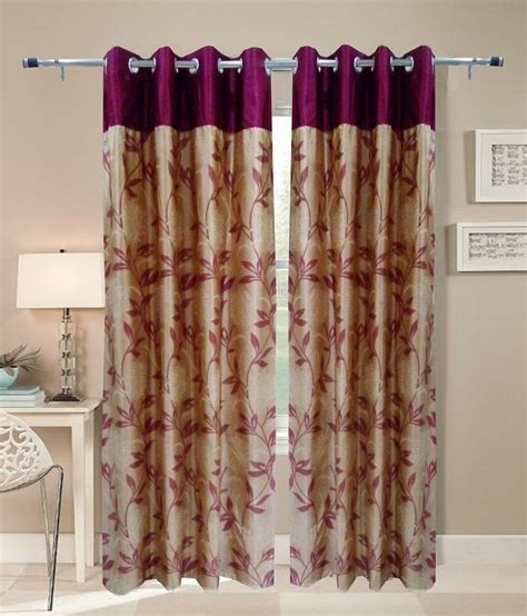 india curtains homefab india beige and purple floral polyester door