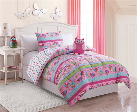 twin bedding set furry friends 3 piece owl twin comforter set