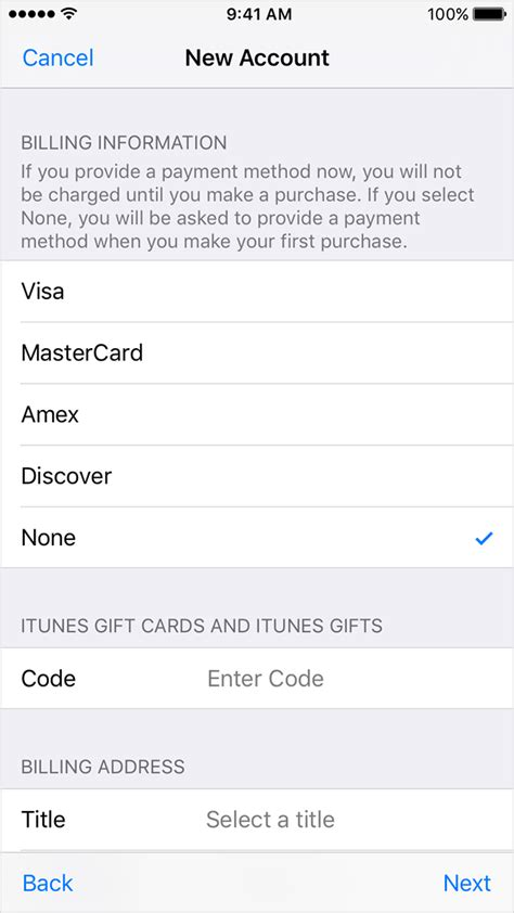 make payment to store card create or use your apple id without a payment method
