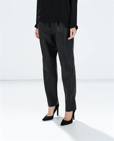 zara synthetic leather trousers with zara high waist faux leather trousers in black lyst