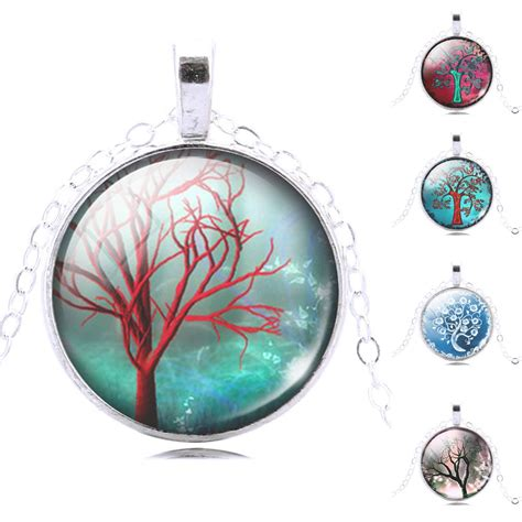 glass cabochons jewelry white tree chain necklace necklace glass