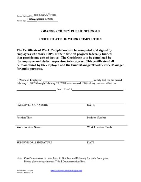Completion Of Employment Contract Letter Best Photos Of Completion Form Template Work