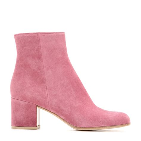 pink ankle boots lyst gianvito suede ankle boots in pink