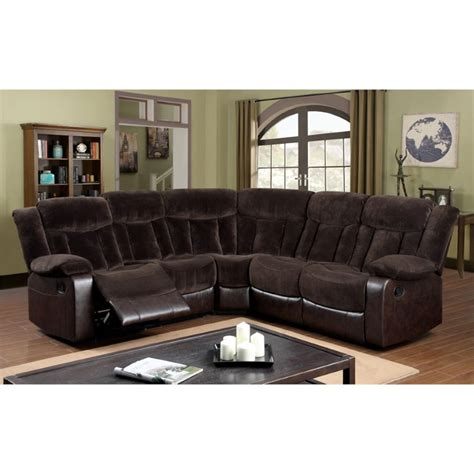 brown fabric reclining sectional furniture of america voitise fabric reclining sectional in