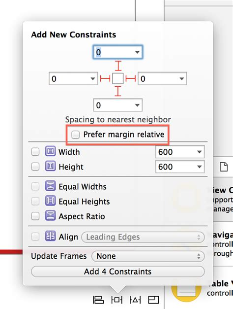 xcode relative layout autolayout layout attributes relative to the layout