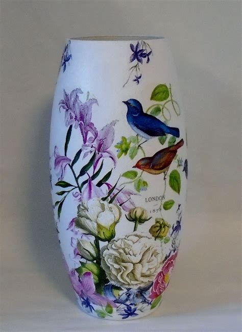 Decoupage Glass Vase - handmade decoupage glass decorative vase birds floral
