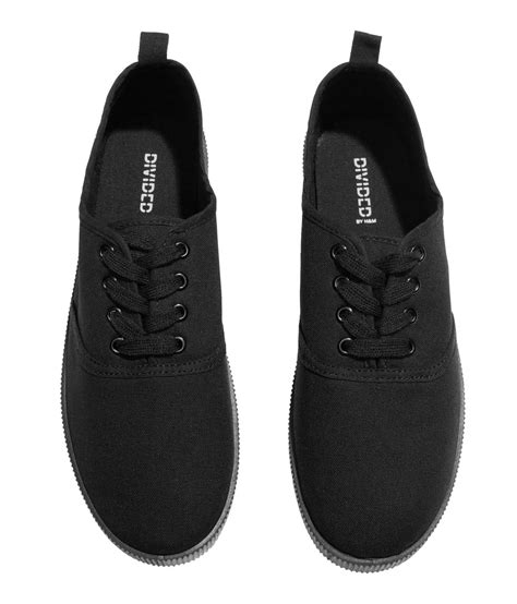 m and s shoes h m canvas sneakers in black lyst