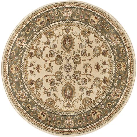 Octagon Rug Tayse Rugs Sensation Beige 5 Ft 3 In Round Traditional