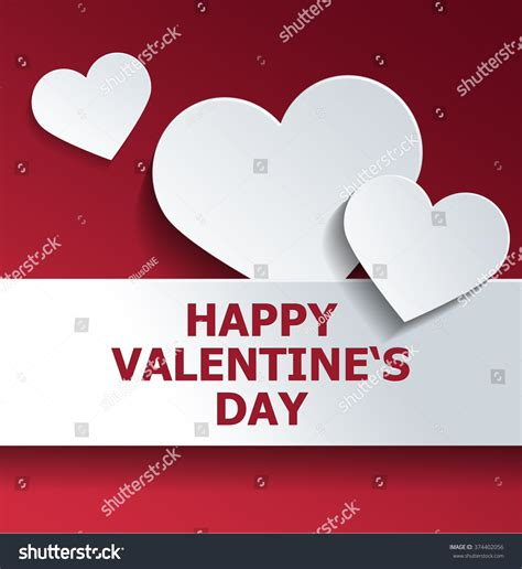 happy valentines day images 3d white shapes against background stock