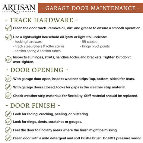 garage door maintenance checklist free artisan