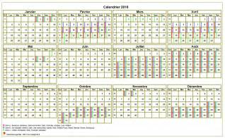 Calendrier 2016 Avec Vacances Scolaires Calendrier 2016 Annuel 224 Imprimer Avec Les Vacances