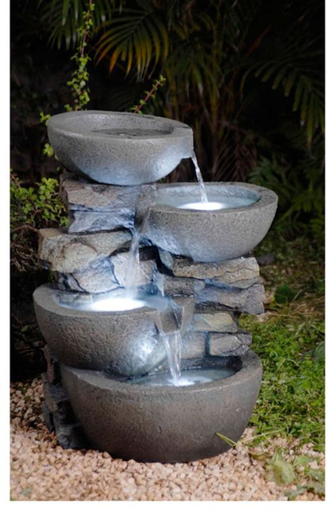 modern water fountain modern bowls with led lights indoor outdoor water