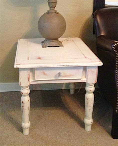 white distressed side end table rustic shabby cottage