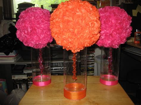 the diy card table centerpieces finished