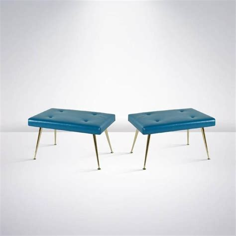 blue leather bench pair of blue leather and brass benches for sale at 1stdibs