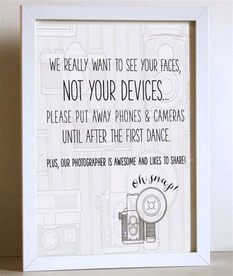 No At Your Wedding by Unplugged Wedding Sign No Cameras Or Cellphones