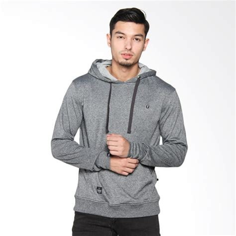 Atasan Hoodie jual greenlight hooded patch sweater atasan pria grey